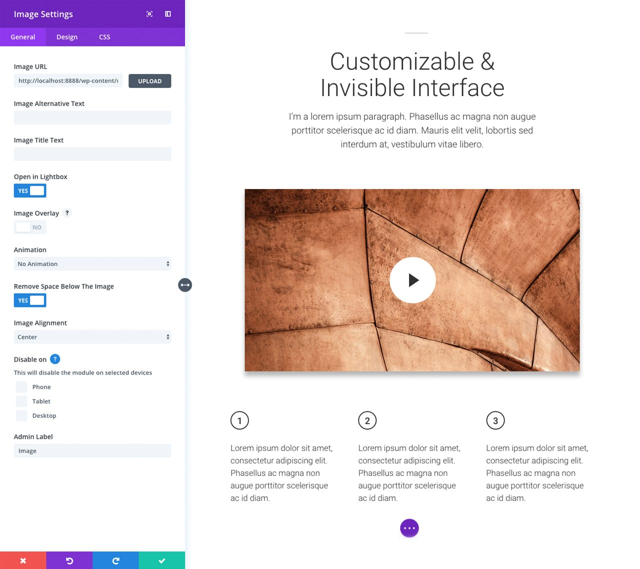 Divi - Customizable Interface